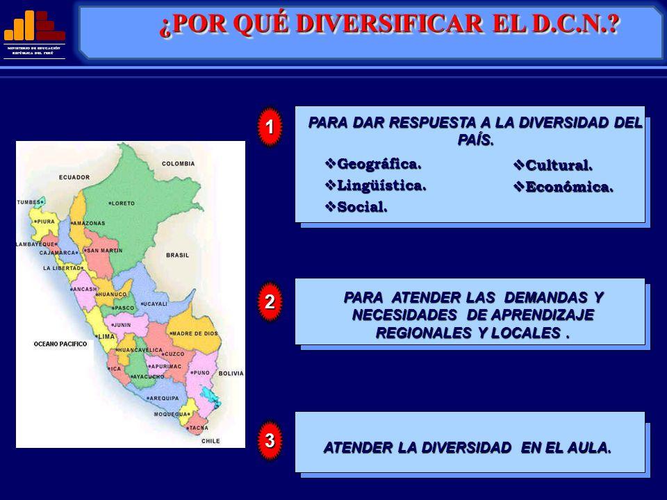MINISTERIO DE EDUCACIÓN REPÚBLICA DEL PERÚ Geográfica. Geográfica. Lingüística. Lingüística. Social. Social. PARA DAR RESPUESTA A LA DIVERSIDAD DEL PA