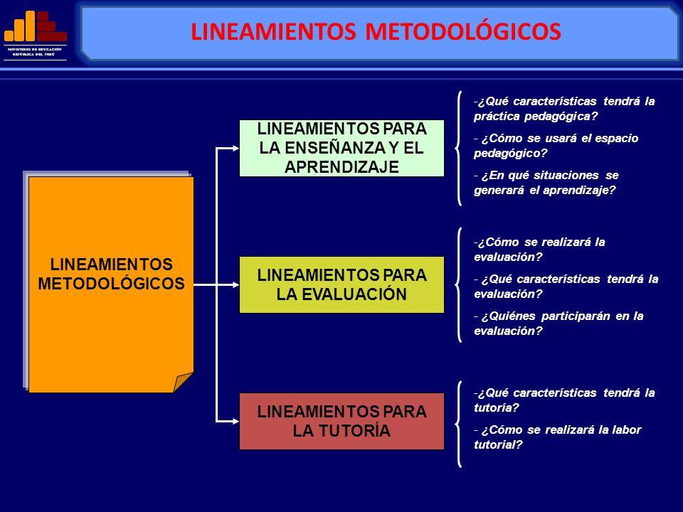 MINISTERIO DE EDUCACIÓN REPÚBLICA DEL PERÚ LINEAMIENTOS METODOLÓGICOS LINEAMIENTOS PARA LA ENSEÑANZA Y EL APRENDIZAJE LINEAMIENTOS PARA LA EVALUACIÓN