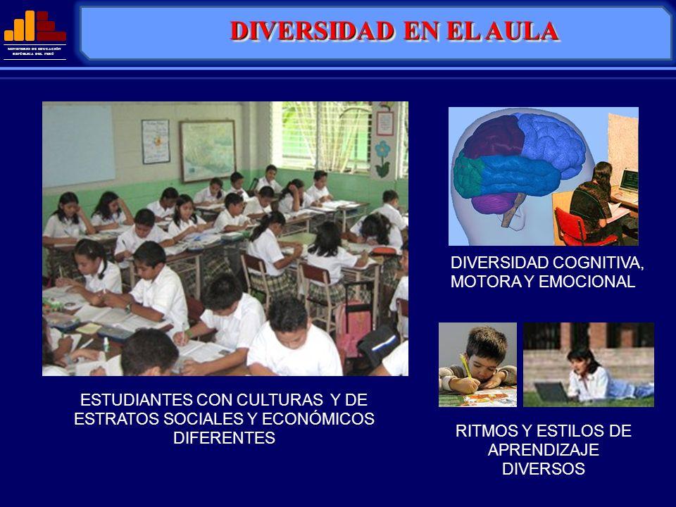 MINISTERIO DE EDUCACIÓN REPÚBLICA DEL PERÚ DIVERSIDAD COGNITIVA, MOTORA Y EMOCIONAL RITMOS Y ESTILOS DE APRENDIZAJE DIVERSOS ESTUDIANTES CON CULTURAS