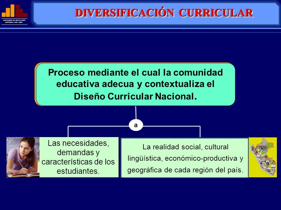 MINISTERIO DE EDUCACIÓN REPÚBLICA DEL PERÚ DIVERSIFICACIÓN CURRICULAR Es el proceso mediante el cual la comunidad educativa adecua, conextualiza y enr