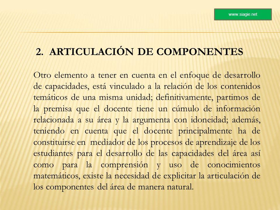 2. ARTICULACIÓN DE COMPONENTES Otro elemento a tener en cuenta en el enfoque de desarrollo de capacidades, está vinculado a la relación de los conteni