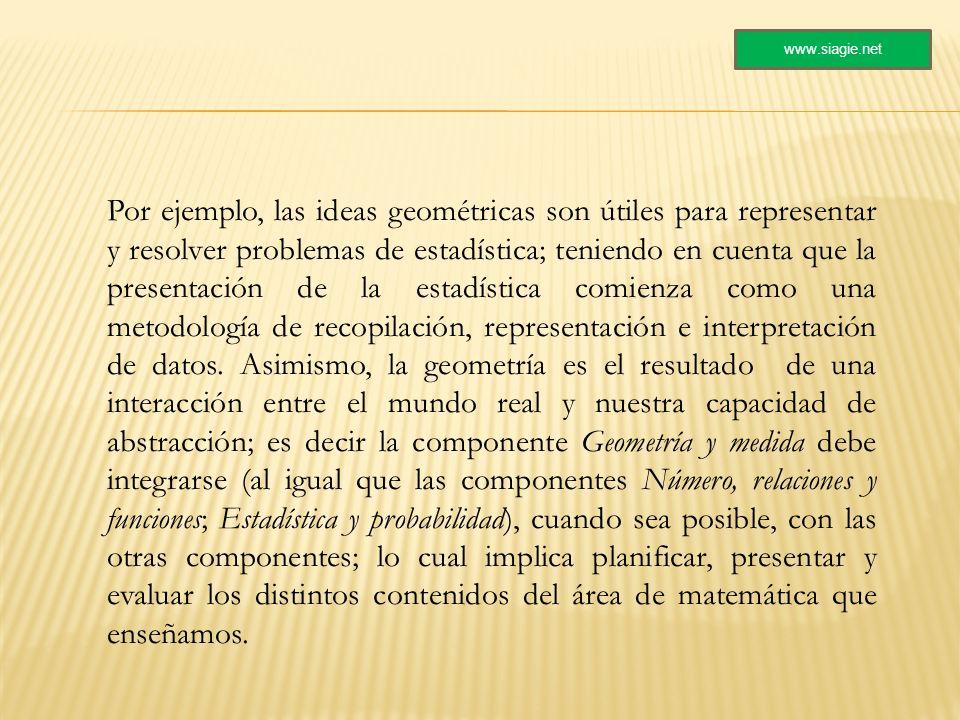 Por ejemplo, las ideas geométricas son útiles para representar y resolver problemas de estadística; teniendo en cuenta que la presentación de la estad