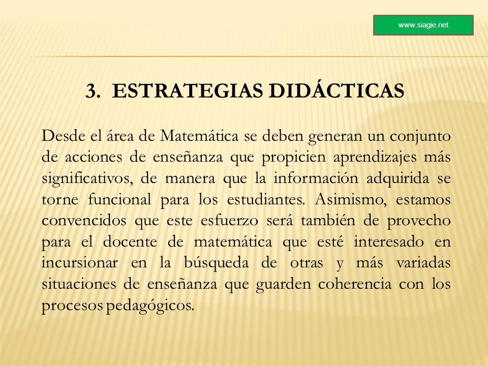 3. ESTRATEGIAS DIDÁCTICAS Desde el área de Matemática se deben generan un conjunto de acciones de enseñanza que propicien aprendizajes más significati