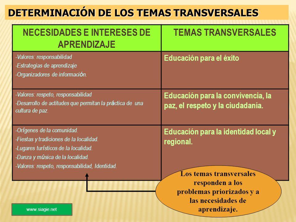DETERMINACIÓN DE LOS TEMAS TRANSVERSALES NECESIDADES E INTERESES DE APRENDIZAJE TEMAS TRANSVERSALES -Valores: responsabilidad -Estrategias de aprendiz