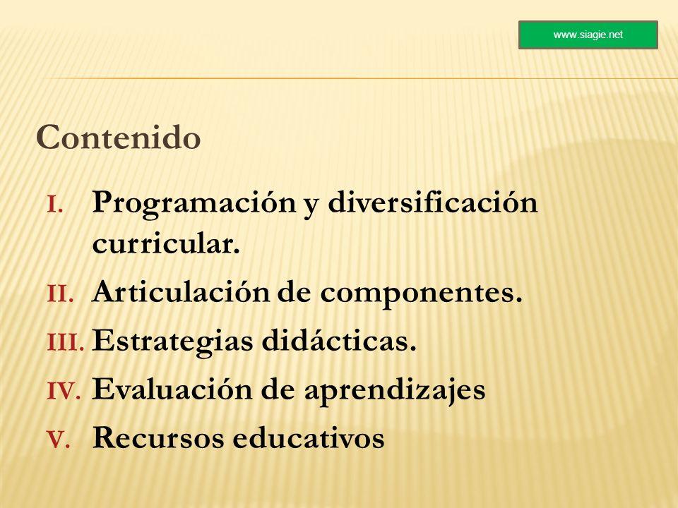 Contenido I. Programación y diversificación curricular. II. Articulación de componentes. III. Estrategias didácticas. IV. Evaluación de aprendizajes V