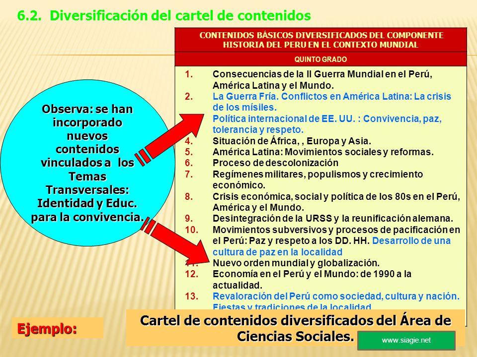 CONTENIDOS B Á SICOS DIVERSIFICADOS DEL COMPONENTE HISTORIA DEL PERU EN EL CONTEXTO MUNDIAL QUINTO GRADO 1.Consecuencias de la II Guerra Mundial en el