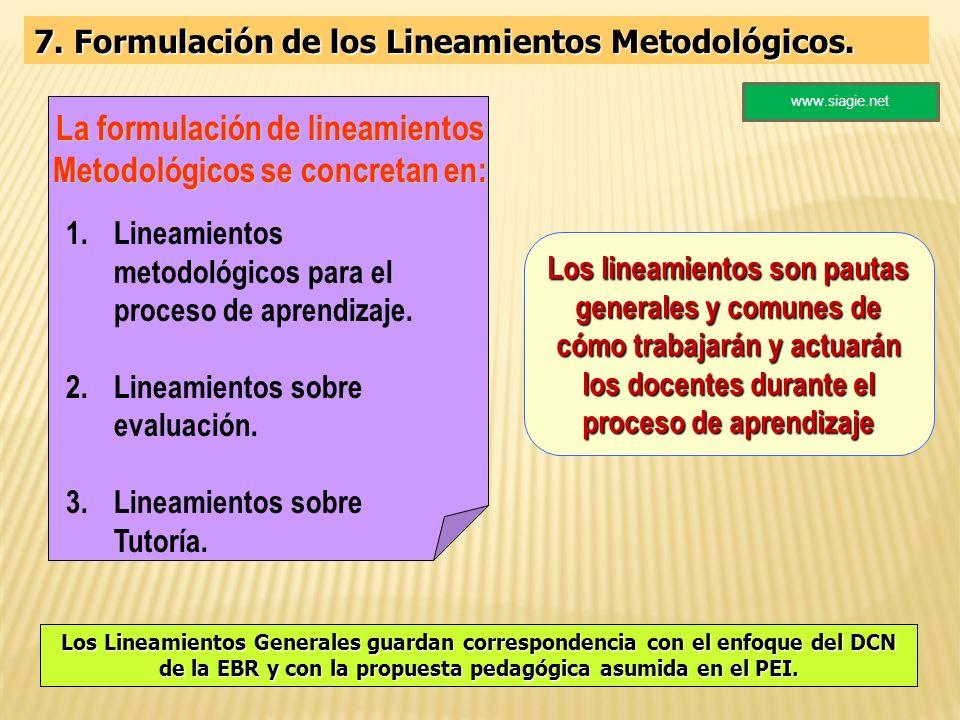 7. Formulación de los Lineamientos Metodológicos. Los lineamientos son pautas generales y comunes de cómo trabajarán y actuarán los docentes durante e