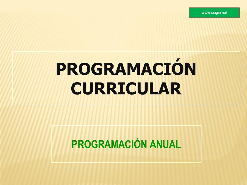 PROGRAMACIÓN CURRICULAR PROGRAMACIÓN ANUAL www.siagie.net