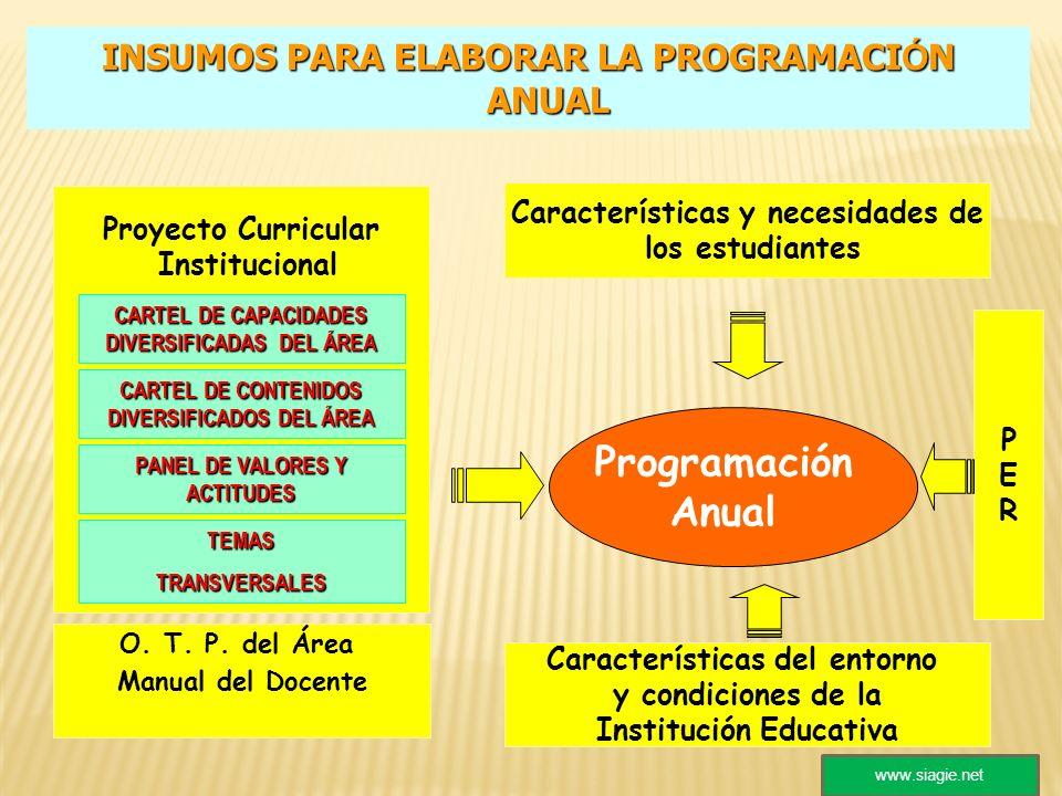 Proyecto Curricular Institucional Programación Anual CARTEL DE CAPACIDADES DIVERSIFICADAS DEL ÁREA CARTEL DE CONTENIDOS DIVERSIFICADOS DEL ÁREA PANEL
