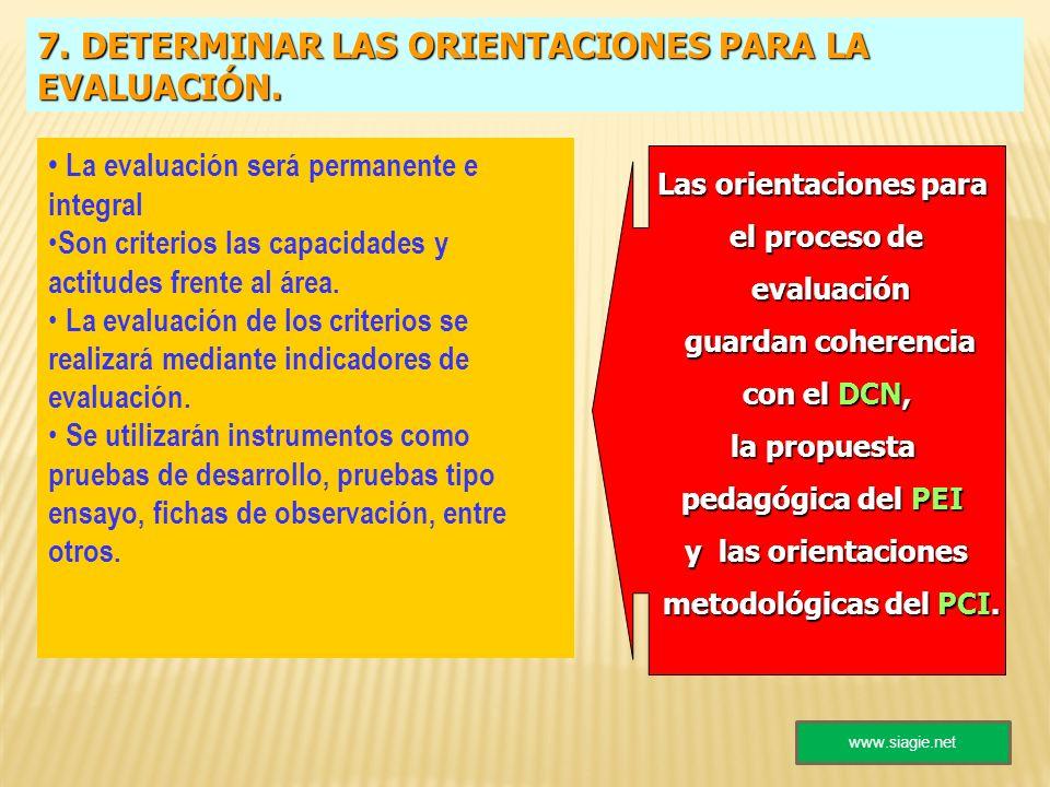 7. DETERMINAR LAS ORIENTACIONES PARA LA EVALUACIÓN. La evaluación será permanente e integral Son criterios las capacidades y actitudes frente al área.