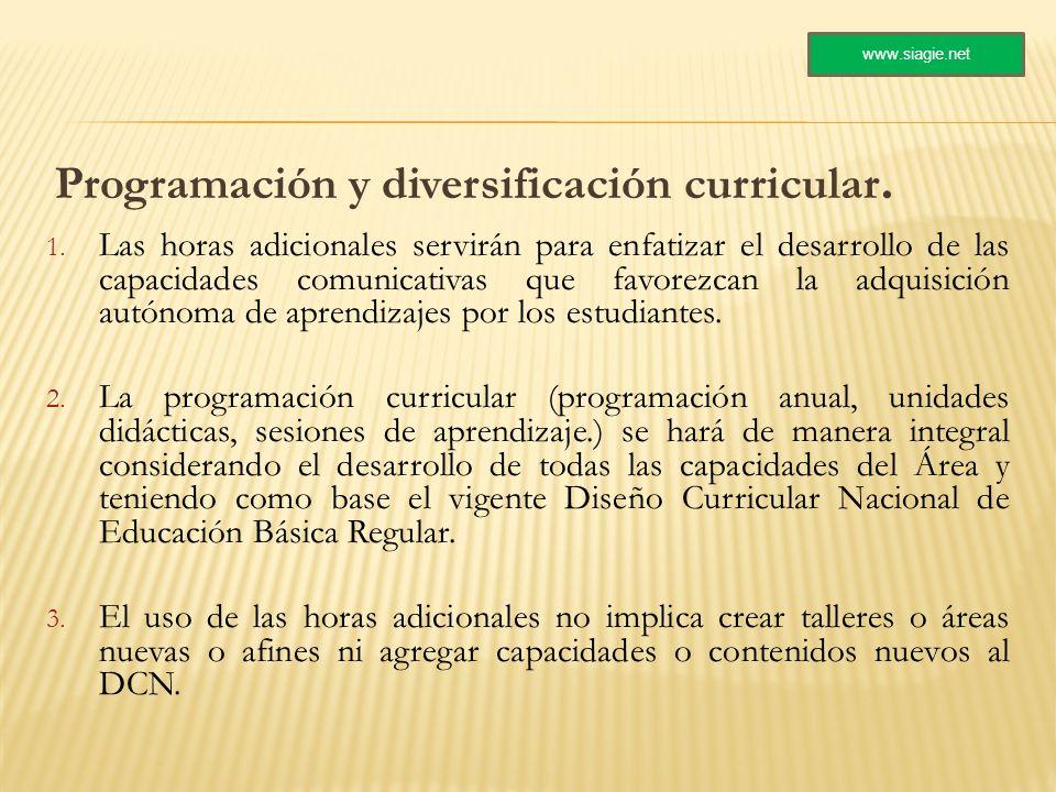 Programación y diversificación curricular. 1. Las horas adicionales servirán para enfatizar el desarrollo de las capacidades comunicativas que favorez