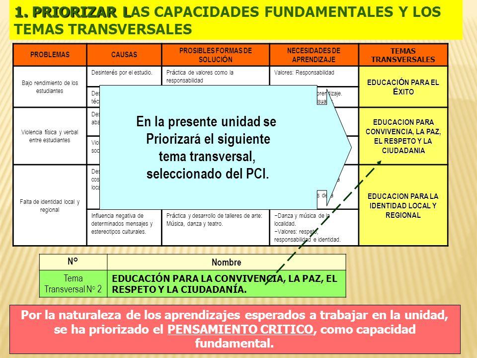 1. PRIORIZAR L 1. PRIORIZAR LAS CAPACIDADES FUNDAMENTALES Y LOS TEMAS TRANSVERSALES PROBLEMASCAUSAS PROSIBLES FORMAS DE SOLUCI Ó N NECESIDADES DE APRE