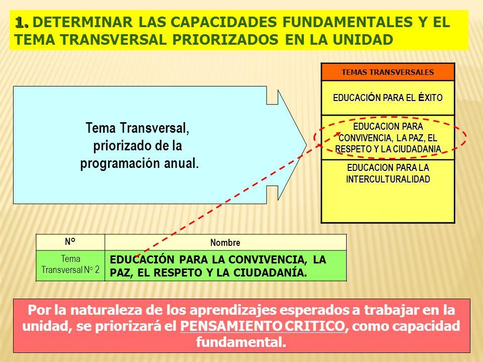 Tema Transversal, priorizado de la programación anual. 1. 1. DETERMINAR LAS CAPACIDADES FUNDAMENTALES Y EL TEMA TRANSVERSAL PRIORIZADOS EN LA UNIDAD N