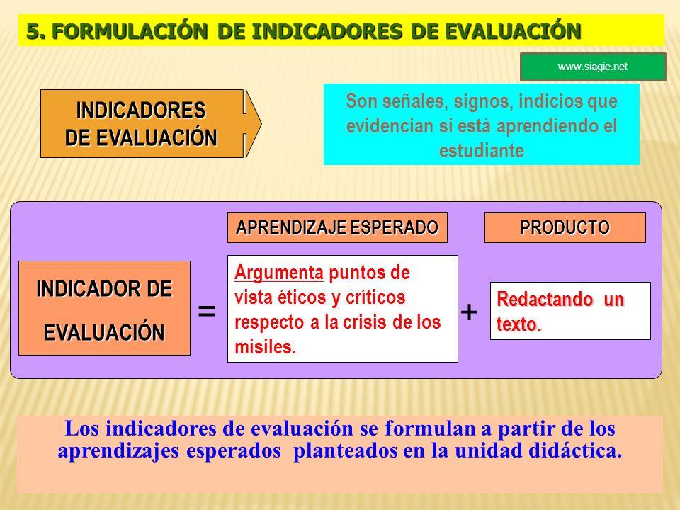 5. FORMULACIÓN DE INDICADORES DE EVALUACIÓN Son señales, signos, indicios que evidencian si está aprendiendo el estudiante + = INDICADOR DE EVALUACIÓN