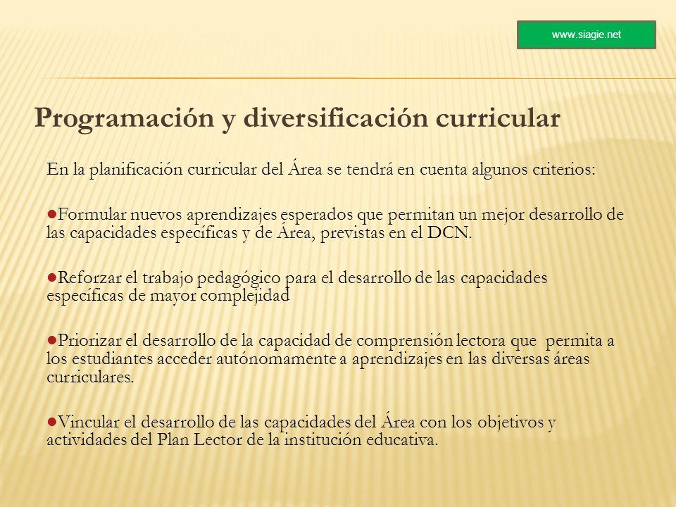 Programación y diversificación curricular En la planificación curricular del Área se tendrá en cuenta algunos criterios: Formular nuevos aprendizajes