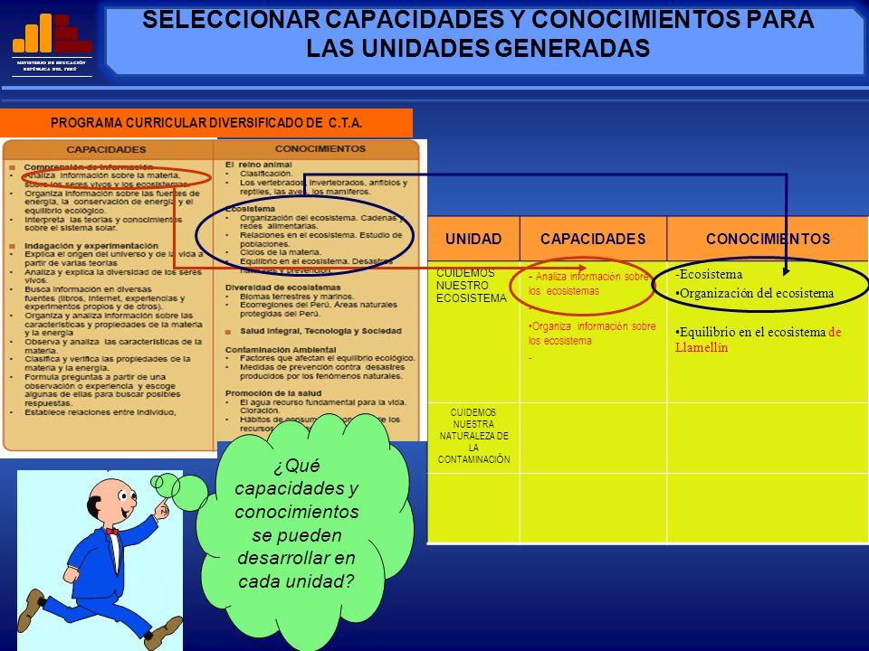 MINISTERIO DE EDUCACIÓN REPÚBLICA DEL PERÚ CUANDO EL ORGANIZADOR ES UN CONOCIMIENTO ARTÍCULADOR P.C.I.