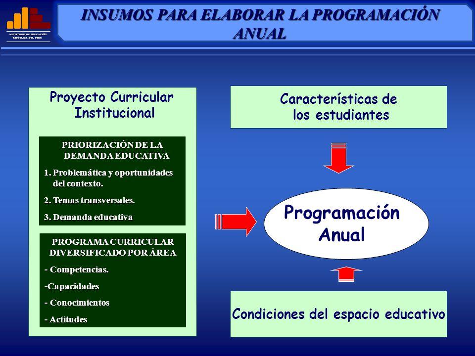 MINISTERIO DE EDUCACIÓN REPÚBLICA DEL PERÚ COMPETENCIAS DEL CICLO TEMAS TRANSVERSALES Y VALORES UNIDADES DIDÁCTICAS ORGANIZADAS ESTRATEGIAS GENERALES DEL ÁREA ORIENTACIONES PARA LA EVALUACIÓN BIBLIOGRAFÍA BÁSICA ELEMENTOS 1 2 3 4 5 6 ELEMENTOS BÁSICOS DE LA PROGRAMACIÓN ANUAL