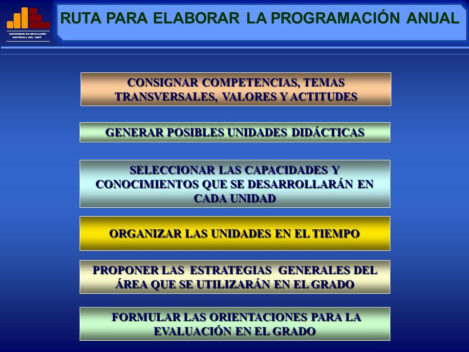 MINISTERIO DE EDUCACIÓN REPÚBLICA DEL PERÚ CONSIGNAR COMPETENCIAS, TEMAS TRANSVERSALES, VALORES Y ACTITUDES PROGRAMACIÓN ANUAL I.DATOS GENERALES II.PRESENTACIÓN III.COMPETENCIAS DE CICLO IV.TEMAS TRANSVERSALES Educación para la cultura productiva y emprendedora Educación para la gestión de riesgos y la conciencia ambiental Educación para la salud y calidad de vida Educación para la identidad local y regional.
