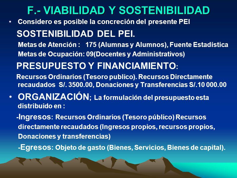 F.- VIABILIDAD Y SOSTENIBILIDAD Considero es posible la concreción del presente PEI SOSTENIBILIDAD DEL PEI. Metas de Atención : 175 (Alumnas y Alumnos