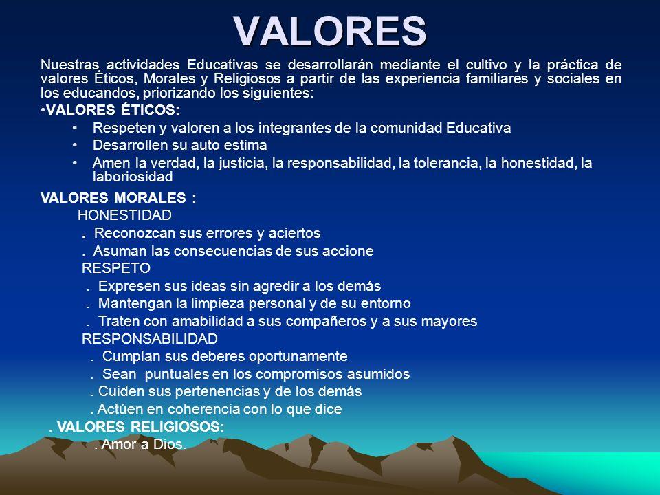 VALORES Nuestras actividades Educativas se desarrollarán mediante el cultivo y la práctica de valores Éticos, Morales y Religiosos a partir de las exp