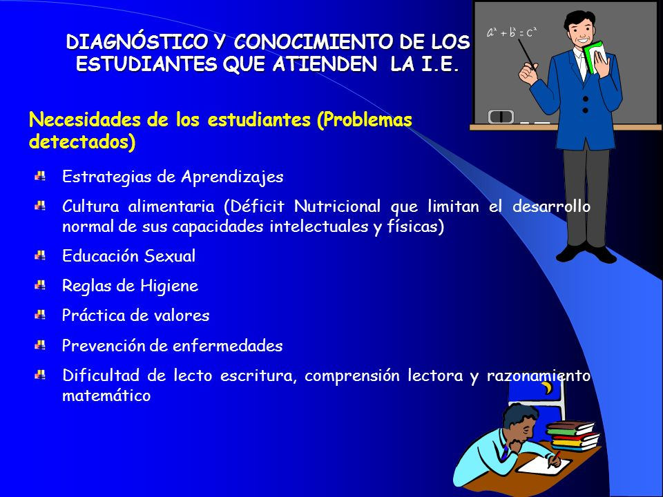 Necesidades de los estudiantes (Problemas detectados) DIAGNÓSTICO Y CONOCIMIENTO DE LOS ESTUDIANTES QUE ATIENDEN LA I.E.