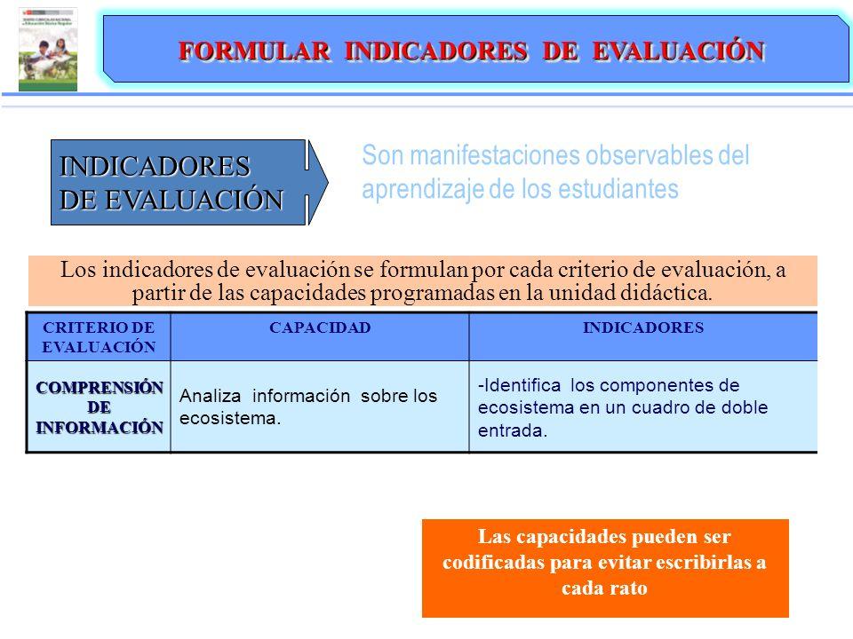 Son manifestaciones observables del aprendizaje de los estudiantes INDICADORES DE EVALUACIÓN Los indicadores de evaluación se formulan por cada criterio de evaluación, a partir de las capacidades programadas en la unidad didáctica.