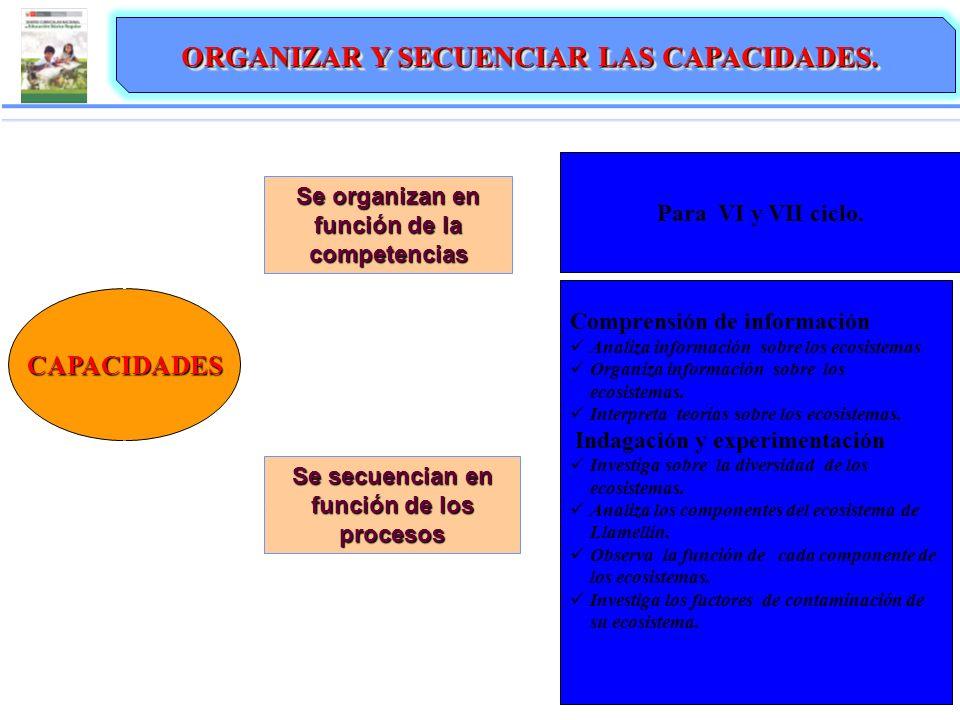 CAPACIDADES Se organizan en función de la competencias ORGANIZAR Y SECUENCIAR LAS CAPACIDADES. Se secuencian en función de los procesos Para VI y VII