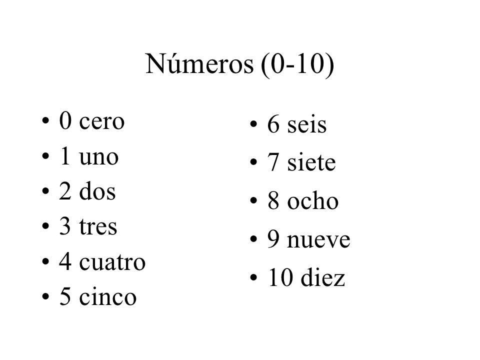 Números (11-15) 11 once (own-say) 12 doce (doe – say) 13 trece (thres – say) 14 catorce (ka-thor – say) 15 quince (keen - say)