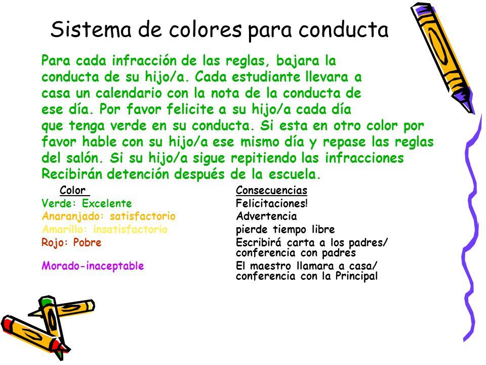 Sistema de colores para conducta Para cada infracción de las reglas, bajara la conducta de su hijo/a. Cada estudiante llevara a casa un calendario con
