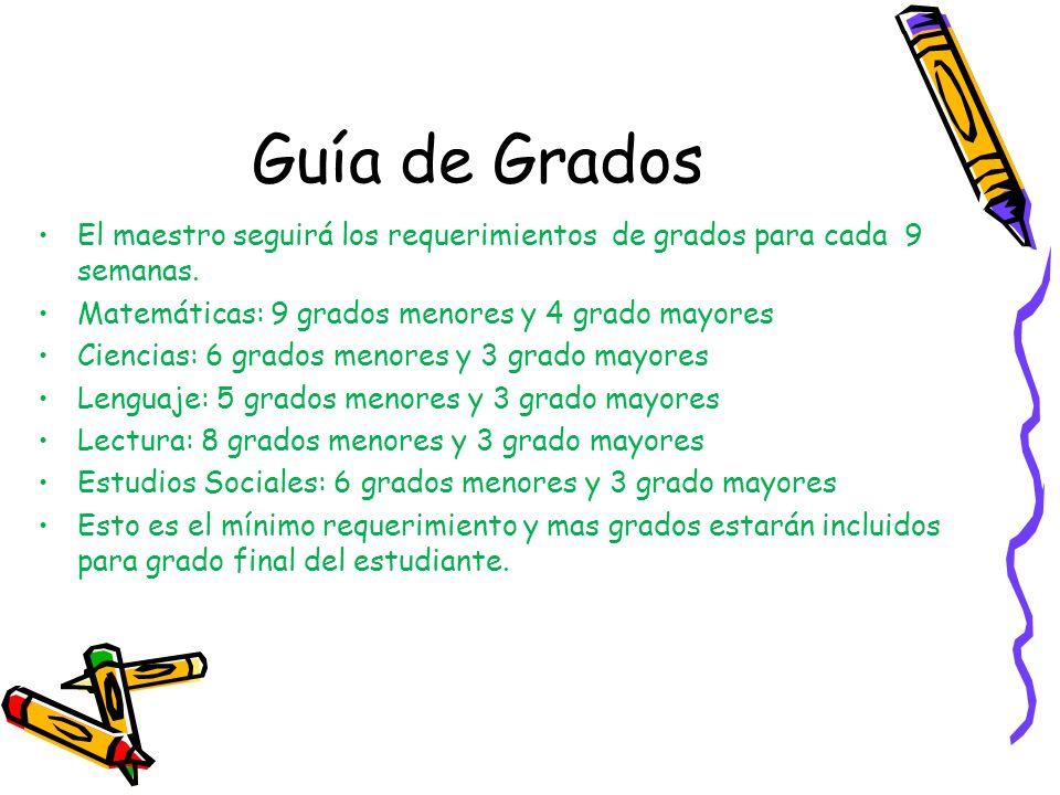 Guía de Grados El maestro seguirá los requerimientos de grados para cada 9 semanas. Matemáticas: 9 grados menores y 4 grado mayores Ciencias: 6 grados