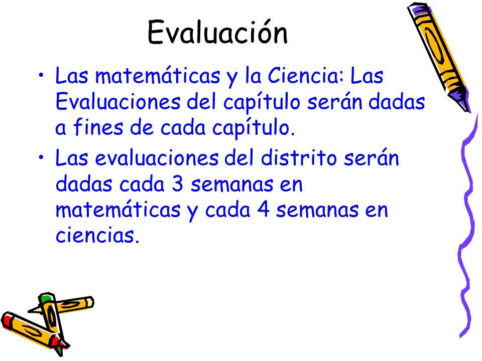 Evaluación Las matemáticas y la Ciencia: Las Evaluaciones del capítulo serán dadas a fines de cada capítulo. Las evaluaciones del distrito serán dadas