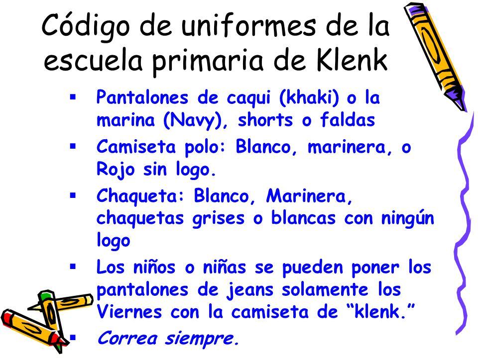 Código de uniformes de la escuela primaria de Klenk Pantalones de caqui (khaki) o la marina (Navy), shorts o faldas Camiseta polo: Blanco, marinera, o