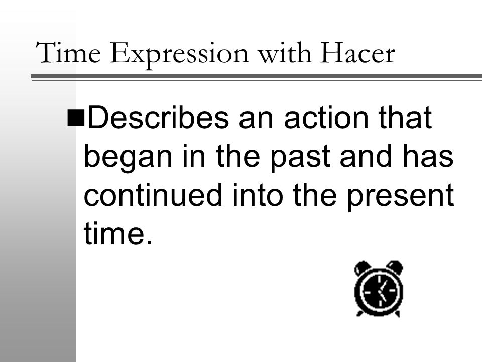 Time Expression with Hacer To make this formula negative, put no in front of the conjugated verb.