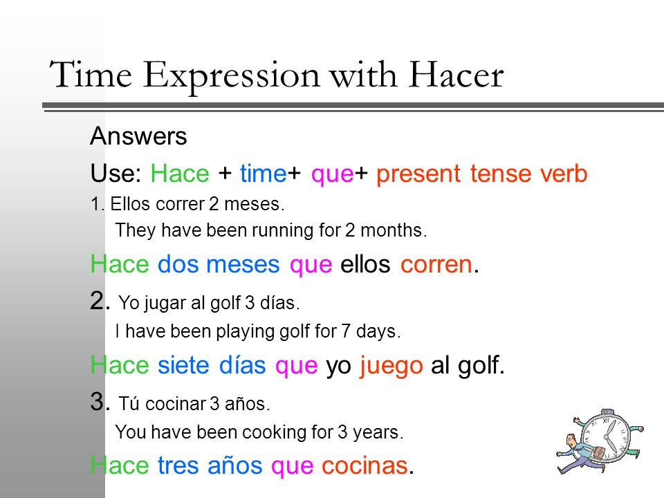 Time Expression with Hacer To make it a negative expression, add no to the pattern in front of the conjugated verb.