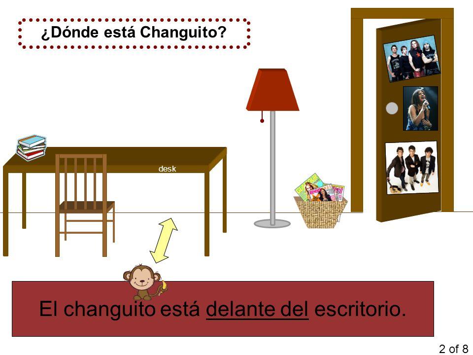 El changuito está delante del escritorio. ¿Dónde está Changuito? 2 of 8 desk