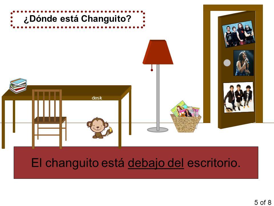¿Dónde está Changuito? El changuito está debajo del escritorio. 5 of 8 desk