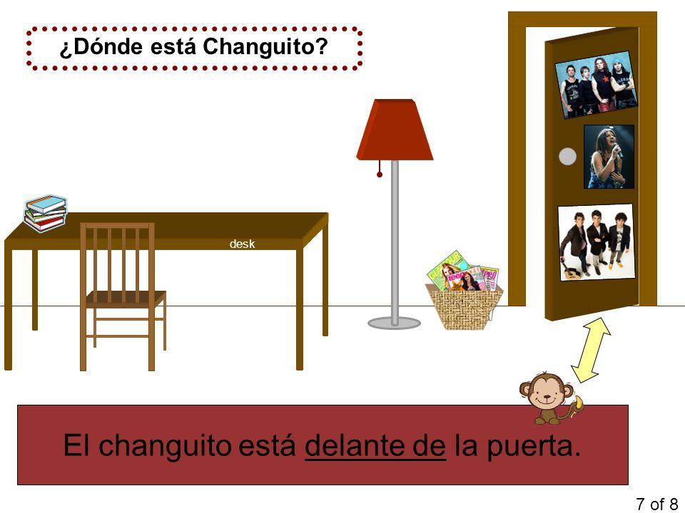 El changuito está delante de la puerta. ¿Dónde está Changuito? 7 of 8 desk