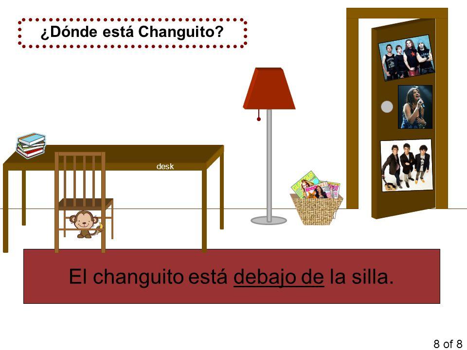 ¿Dónde está Changuito? El changuito está debajo de la silla. 8 of 8 desk