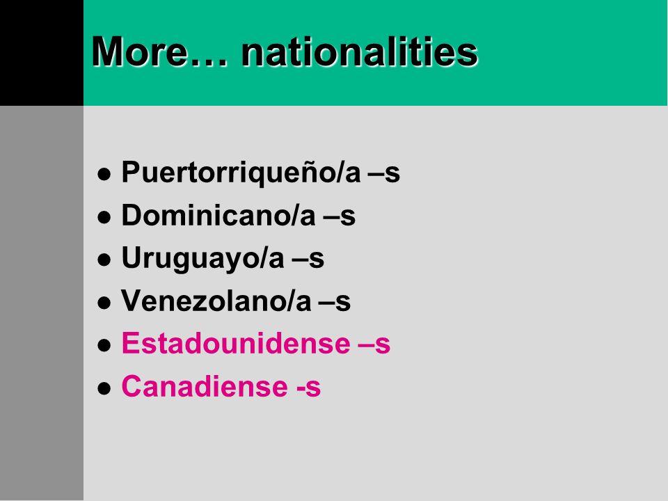 Nationalities…nacionalidades Guatemalteco/a –s Hondureño/a –s Mexicano/a –s Panameño/a –s Peruano/a –s Nicaraguense –s Paraguayo/a -s