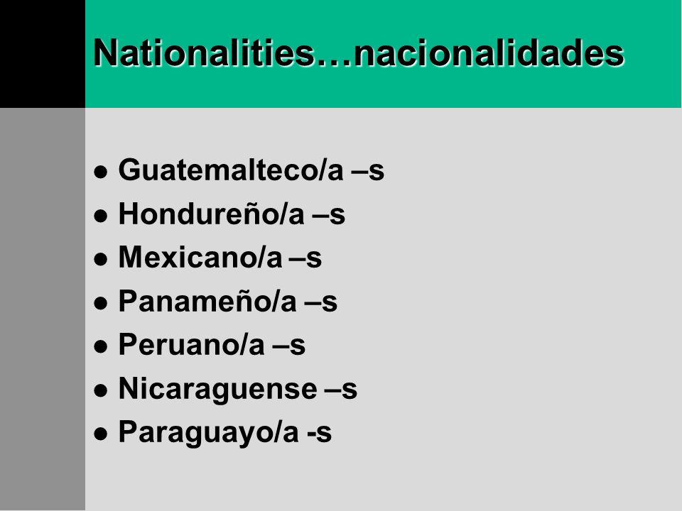 More… Nationalities…nacionalidades Argentino/a –s Boliviano/a –s Colombiano/a –s Chileno/a –s Costarricense –s Cubano/a –s Ecuatoriano/a –s Salvadoreñ