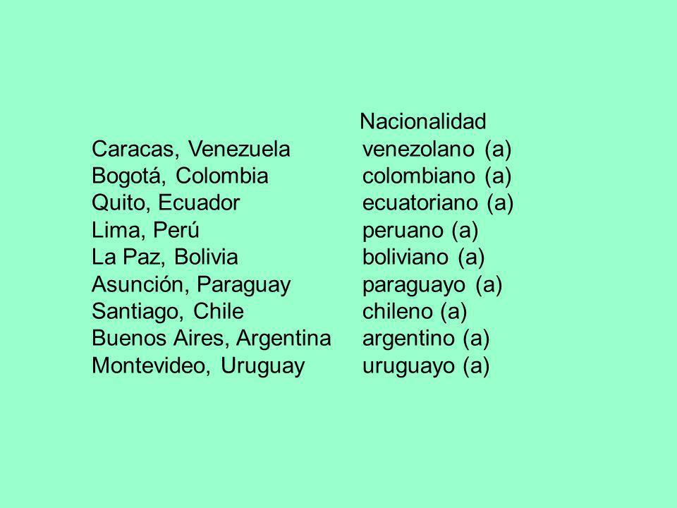 Nacionalidad Caracas, Venezuela venezolano (a) Bogotá, Colombia colombiano (a) Quito, Ecuador ecuatoriano (a) Lima, Perú peruano (a) La Paz, Boliviabo