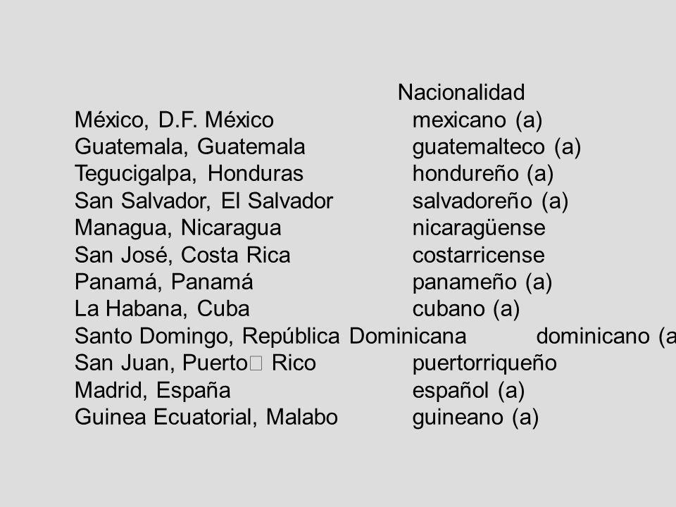 Nacionalidad México, D.F. México mexicano (a) Guatemala, Guatemalaguatemalteco (a) Tegucigalpa, Honduras hondureño (a) San Salvador, El Salvador salva