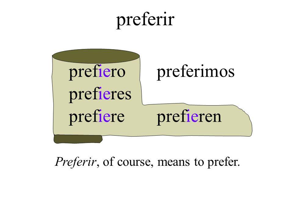 prefiero prefieres prefiere preferimos prefieren preferir Preferir, of course, means to prefer.