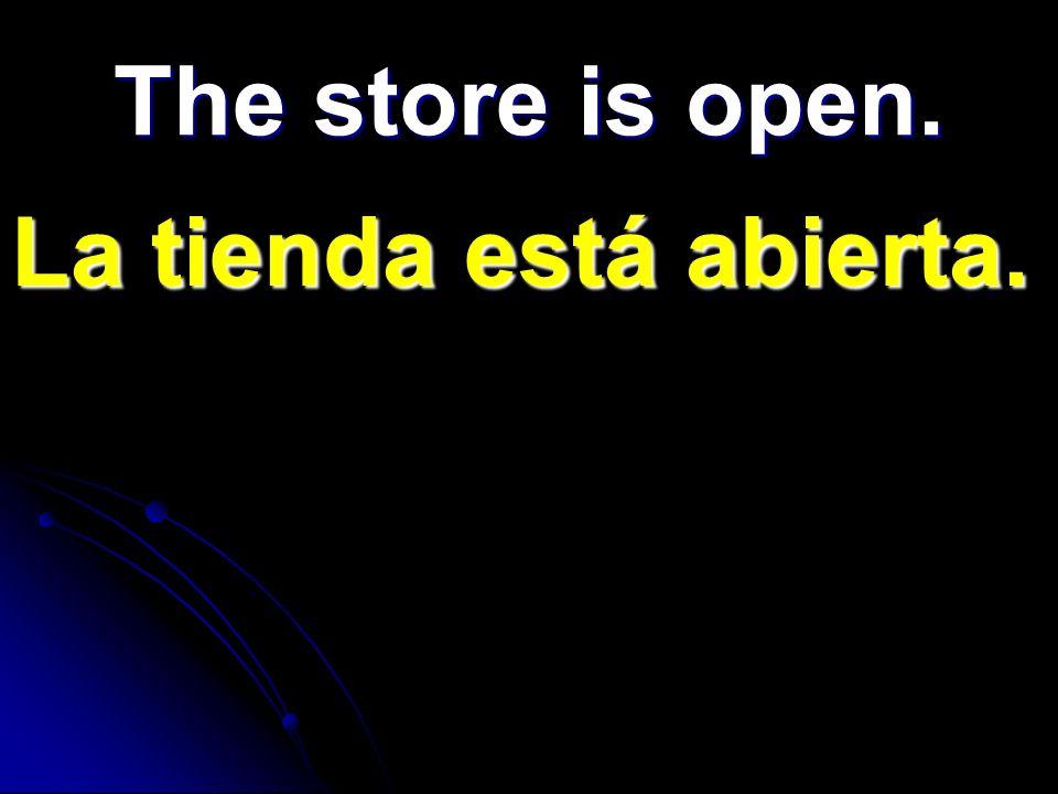 La tienda está abierta. The store is open.