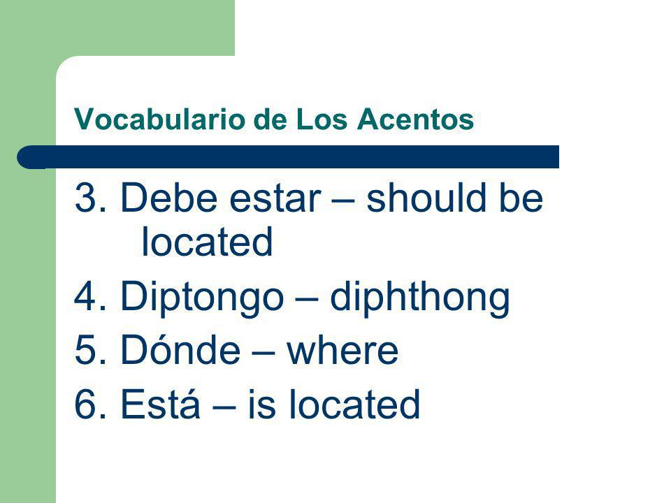 Vocabulario de Los Acentos 3.Debe estar – should be located 4.