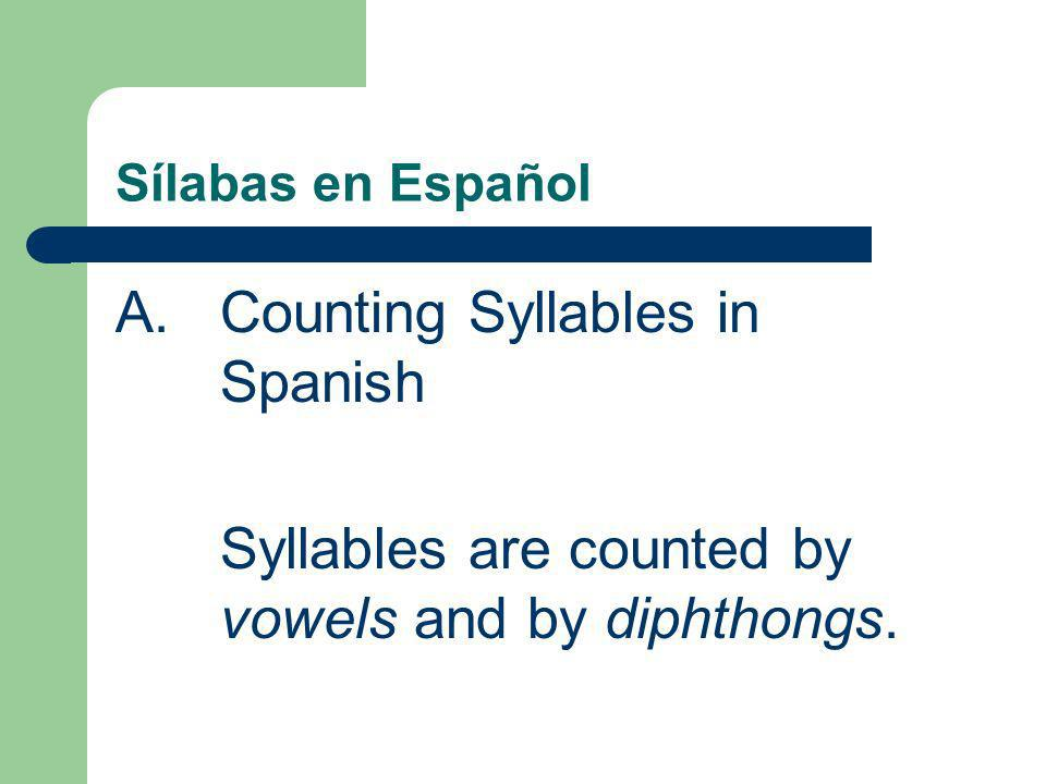Sílabas en Español A.Counting Syllables in Spanish Syllables are counted by vowels and by diphthongs.