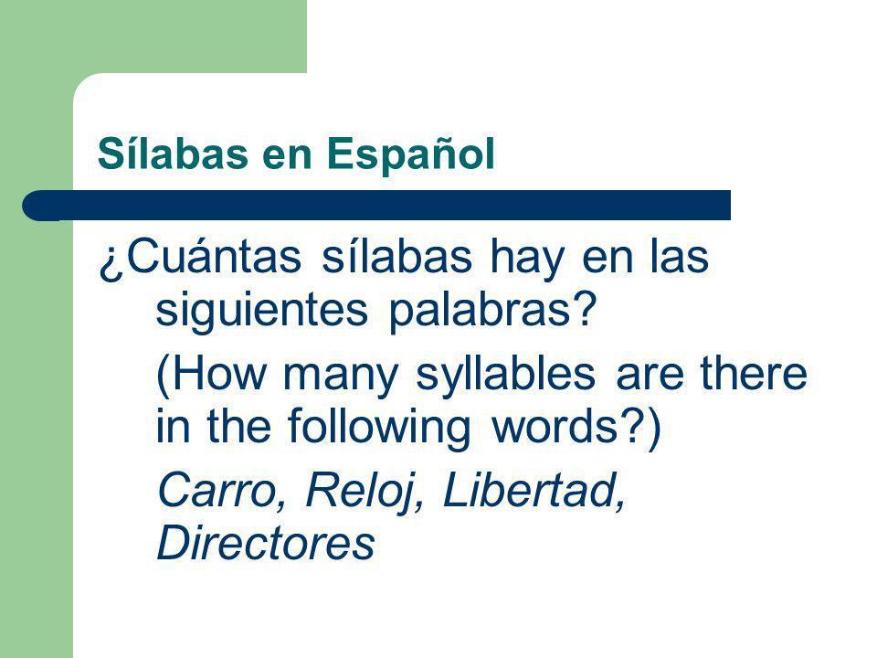 Sílabas en Español ¿Cuántas sílabas hay en las siguientes palabras.