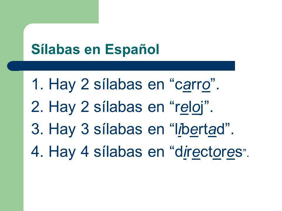 Sílabas en Español ¿Cuántas sílabas hay en las siguientes palabras? (How many syllables are there in the following words?) Carro, Reloj, Libertad, Dir