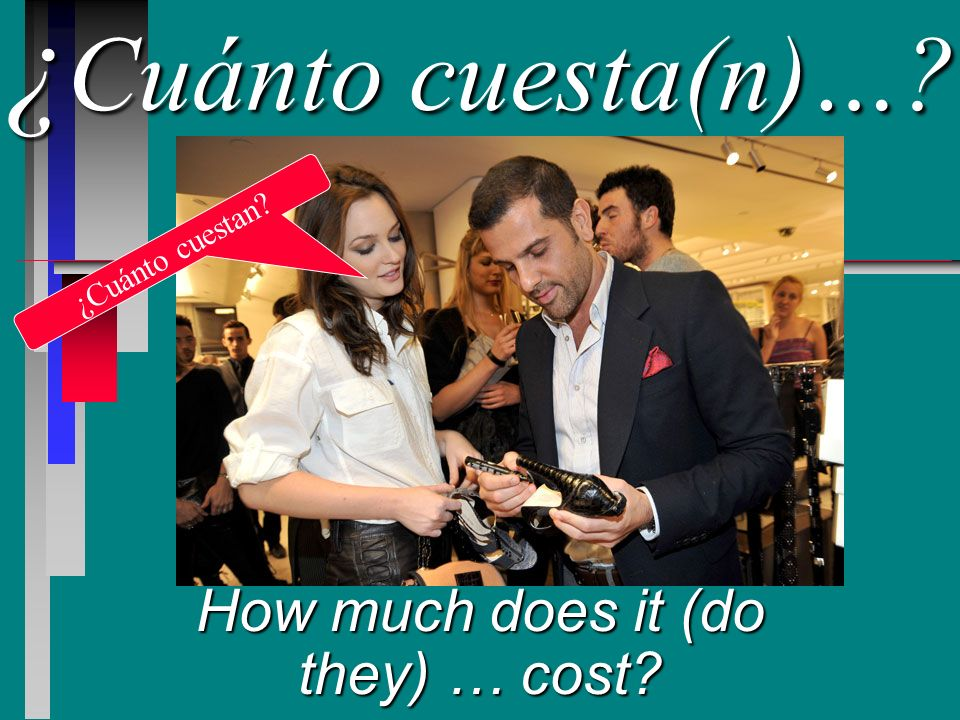 ¿ Cuánto ¿ Cuánto cuesta(n)… How much does it (do they) … cost ¿Cuánto cuestan