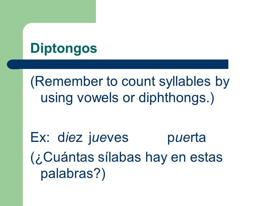 Los Diptongos (Diphthongs) Una combinación de una vocal fuerte y una vocal débil es un diptongo. Una combinación de dos vocales débiles es un diptongo